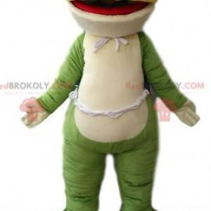 Mascotte della rana verde e bianca molto sorridente -