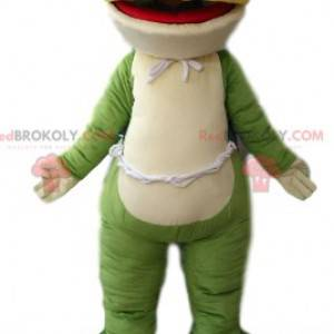 Zeer glimlachende groene en witte kikker mascotte -
