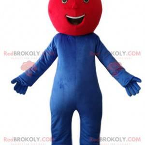 Velmi šťastný modrý sněhulák maskot s červenou hlavou. -