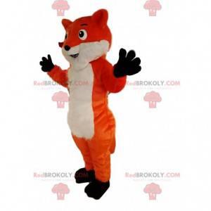 Mascote raposa vermelha e branca com um grande sorriso. -