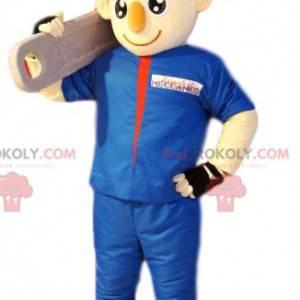 Údržbář bohomme maskot v modrém pracovním oděvu. -