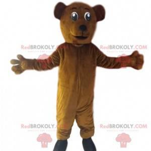 Sehr begeistertes Braunbärenmaskottchen. Bärenkostüm -