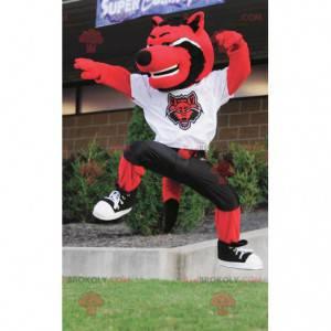 Mascota de gato lobo rojo blanco y negro - Redbrokoly.com