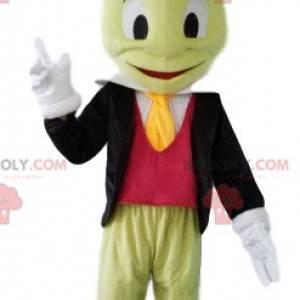 Mascota de cricket, con traje, corbata y sombrero -
