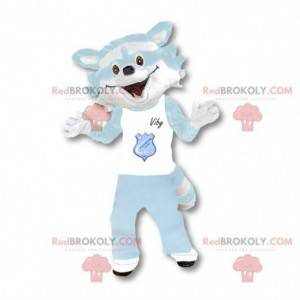 Vaskebjørn maskot hvid og himmelblå - Redbrokoly.com