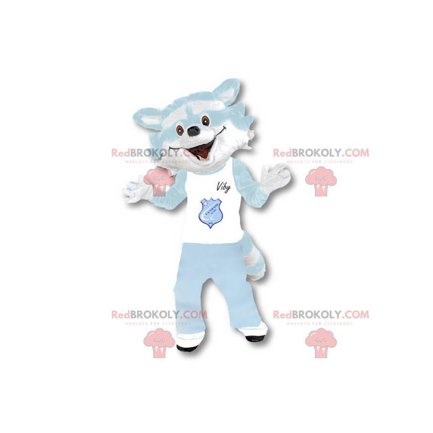 Waschbär Maskottchen weiß und himmelblau - Redbrokoly.com