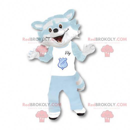 Raccoon mascot white and sky blue - Redbrokoly.com