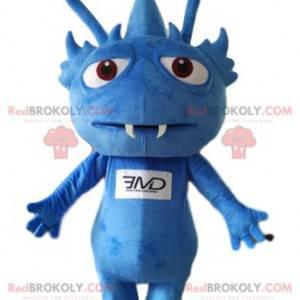 Maskot liten blå fremmed med skarpe tenner. - Redbrokoly.com