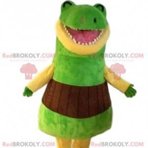 Mascote de dinossauro verde muito engraçado. Traje de