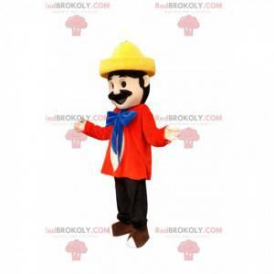 Maskottchenmann im bunten Outfit mit gelbem Hut - Redbrokoly.com