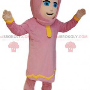 Mascote da mulher Touareg em roupa rosa. Fantasia feminina -