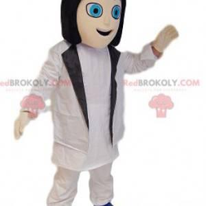 Mulher mascote com um traje branco. Fantasia de mulher -
