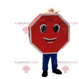 Velmi šťastný červený dopravní značka maskot. - Redbrokoly.com