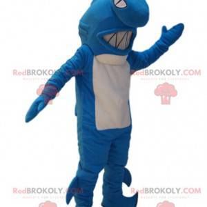 Mascote tubarão azul e branco muito agressivo. Fantasia de
