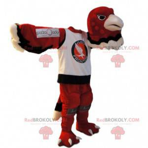 Mascot red eagle in a sports jersey. Red eagle costume -