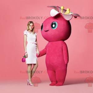 Riesiges und blumiges rosa Schneemannmaskottchen -