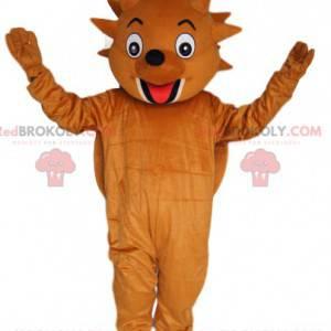 Mascota muy divertida del erizo marrón. Disfraz de erizo. -