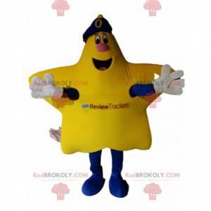 Velmi šťastný maskot žluté hvězdy s modrou čepicí. -