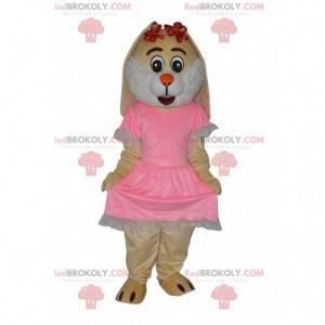 Maskot krémového králíka s pěkně růžovými šaty - Redbrokoly.com