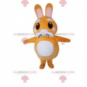 Maskot malý oranžový a bílý králík. Kostým zajíčka -