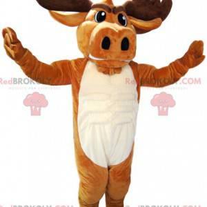 Mascote de veado marrom com chifres bonitos. Fantasia de cervo