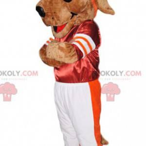 Hundemaskot i rød og hvit sportsklær - Redbrokoly.com
