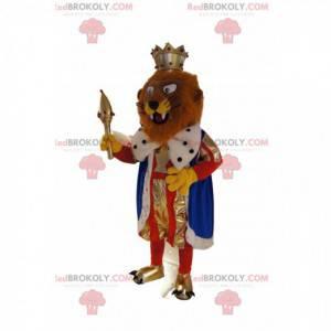 Brązowy lew maskotka przebrany za króla. Kostium lwa -