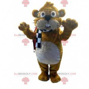 Mascota de castor marrón con gafas transparentes -