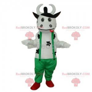Biała krowa maskotka w zielonym kombinezonie - Redbrokoly.com