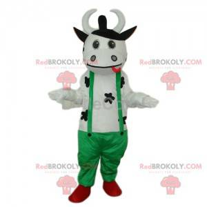 Mascot friendly white cow, with green overalls - Redbrokoly.com