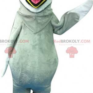 Gigantisk grå og hvit pingvin maskot - Redbrokoly.com