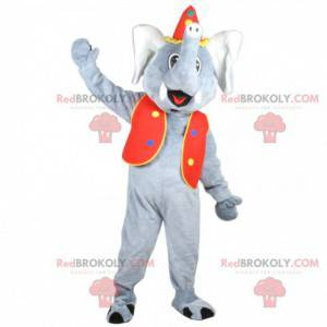Gray elephant mascot in circus outfit - Redbrokoly.com