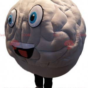 White brain mascot with a huge smile - Redbrokoly.com