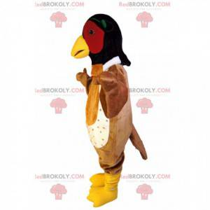 Brown bird mascot with a black and red head - Redbrokoly.com