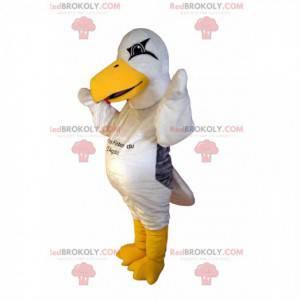 Maskot bílý racek s velkým žlutým zobákem - Redbrokoly.com