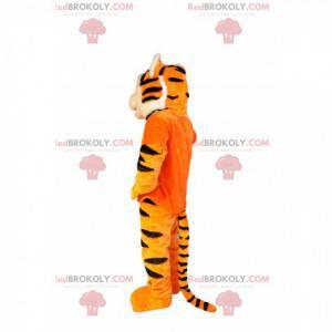 Zu süßes Tiger-Maskottchen mit einem orangefarbenen T-Shirt -