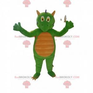 Mascota dragón verde y amarillo. Traje de dragón -