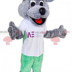 Super smiling gray dog mascot with a white t-shirt -