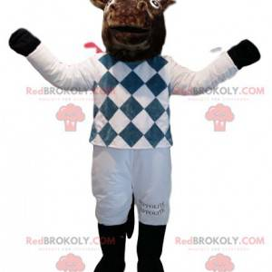 Brown horse mascot in white and blue jockey outfit -