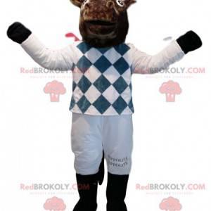 Bruin paard mascotte in wit en blauw jockey-outfit -