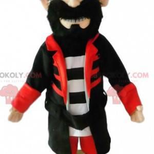 Piratenmaskottchen mit einem schönen schwarzen Kostüm. -