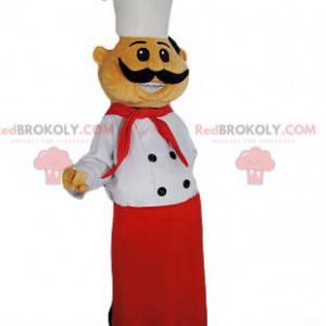 Maskot šéfkuchaře s krásnou červenou zástěrou a vynikající