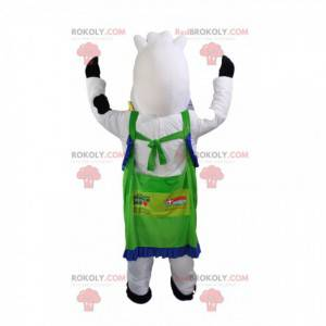 Mascot white and black cow with a green apron. - Redbrokoly.com