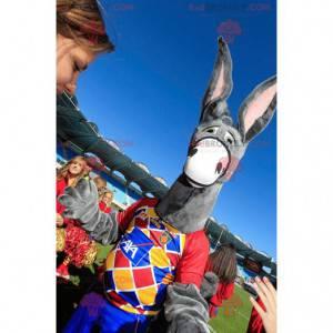 Gray donkey mascot with big ears - Redbrokoly.com