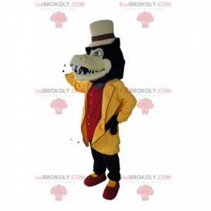 Mascotte lupo dandy con la sua giacca gialla e cappello beige -
