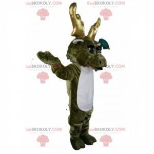 Mascote de rena cáqui com chifres dourados. Traje de rena. -