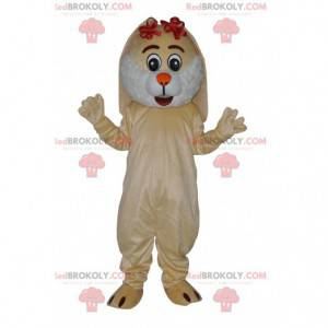 Pěkný béžový maskot králíka s malými červenými uzly -
