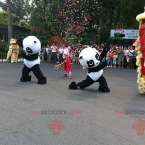 2 zwart-witte panda-mascottes - Redbrokoly.com