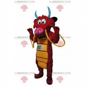 Super divertente mascotte drago rosso con baffi gialli -