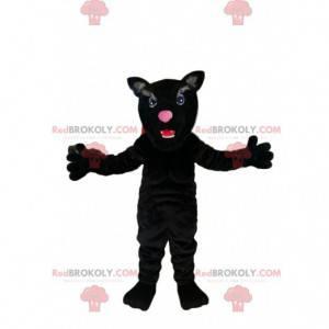 Czarna pantera maskotka z pięknymi niebieskimi oczami -